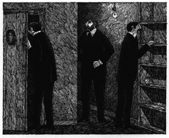 Edward Gorey Picture of the three men